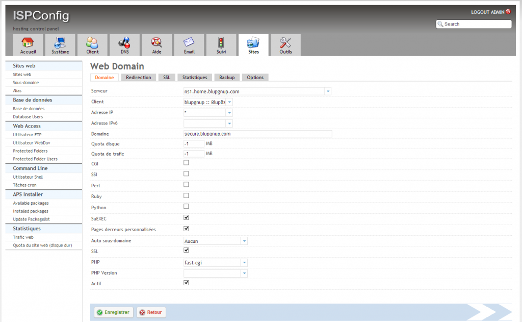 ISPConfig 3, création d'un site web