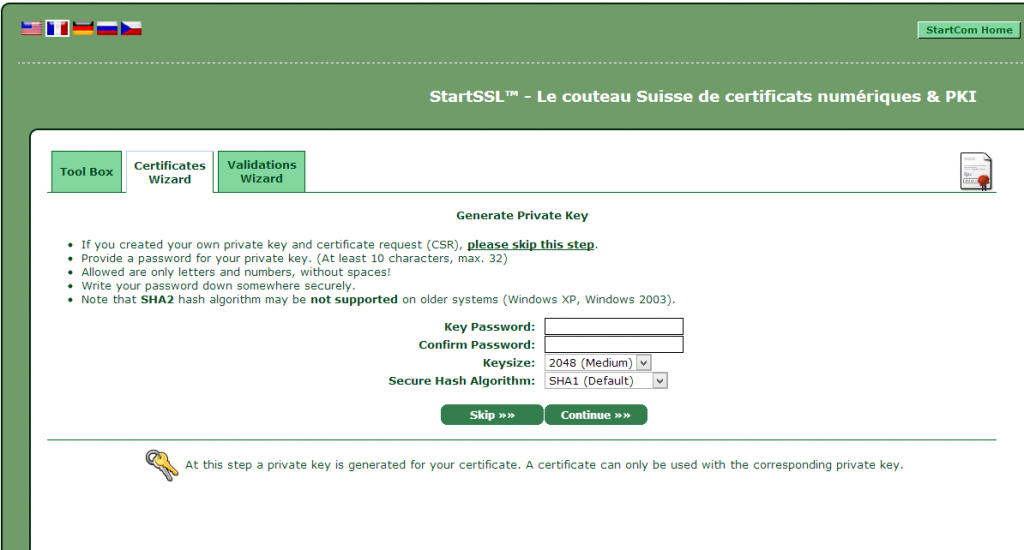 StartSSL, private key