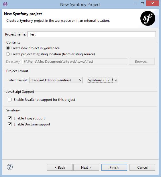 Eclipse New Symfony Project