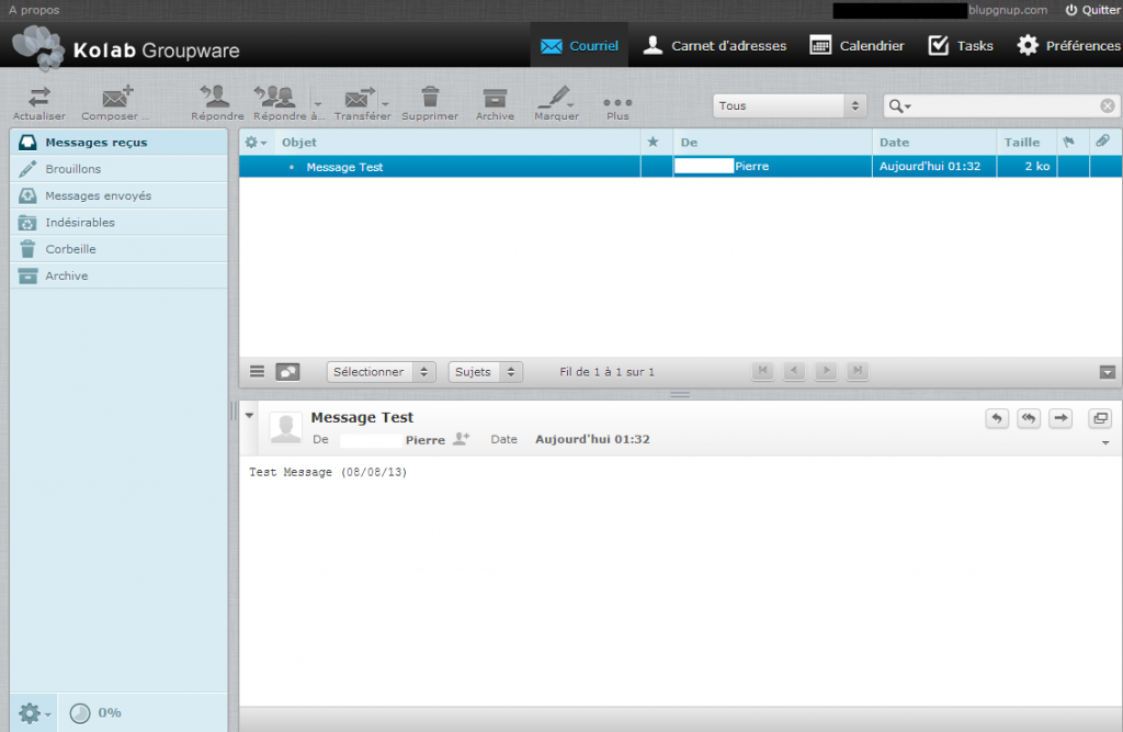 Interface mail Kolab