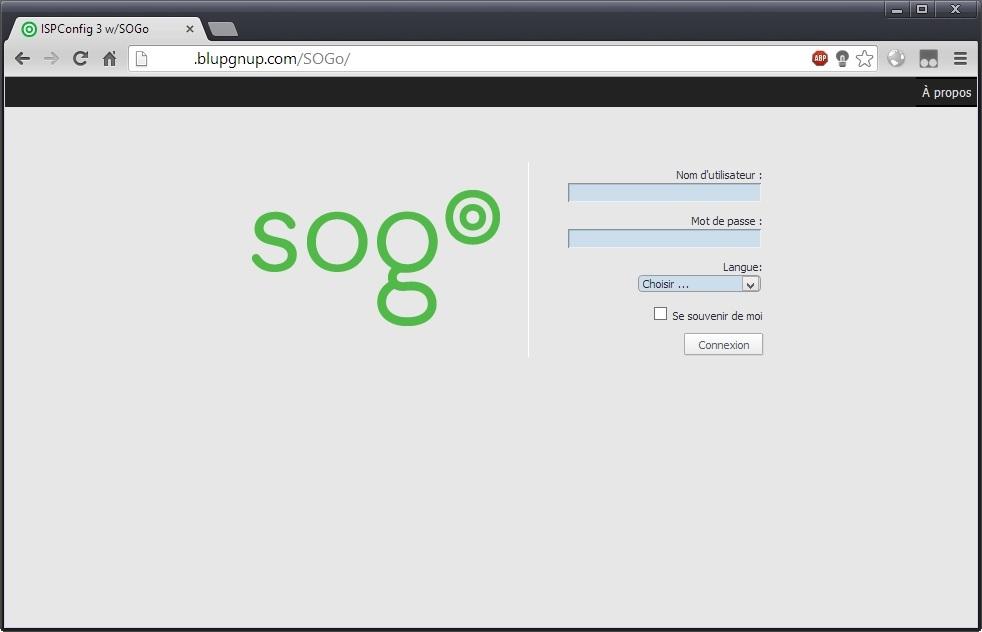 Page d'accueil de SOGo
