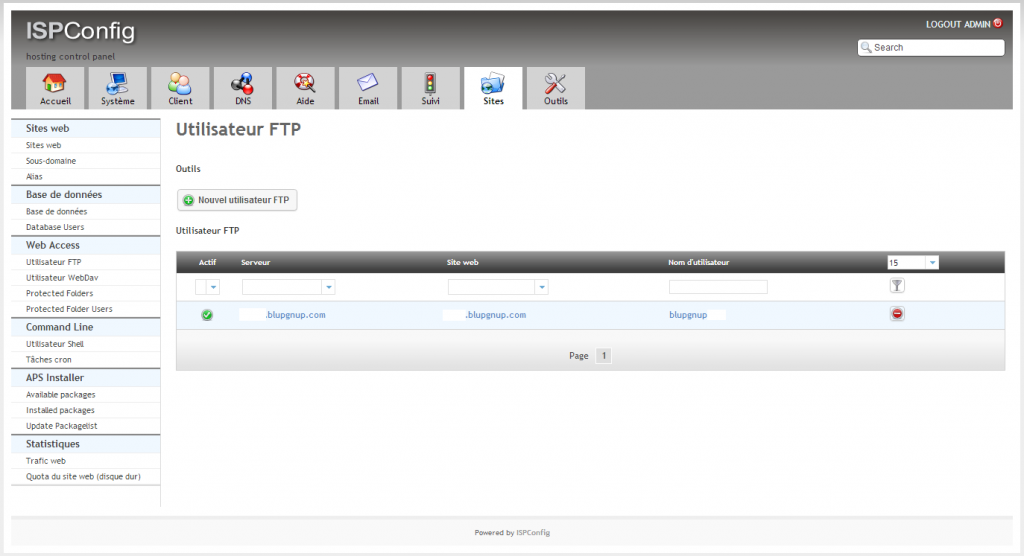 ISPConfig 3 Onglet Site, menu FTP