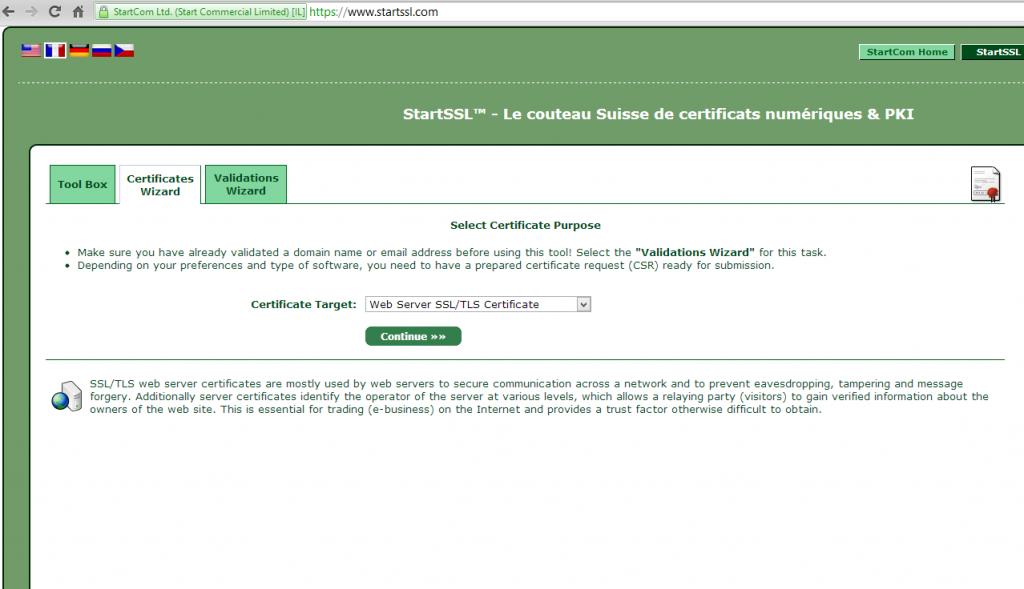 StartSSL Choix du type de certificat