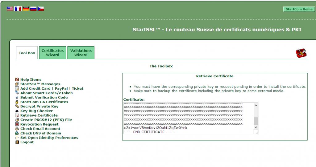 StartSSL, récupération du certificat