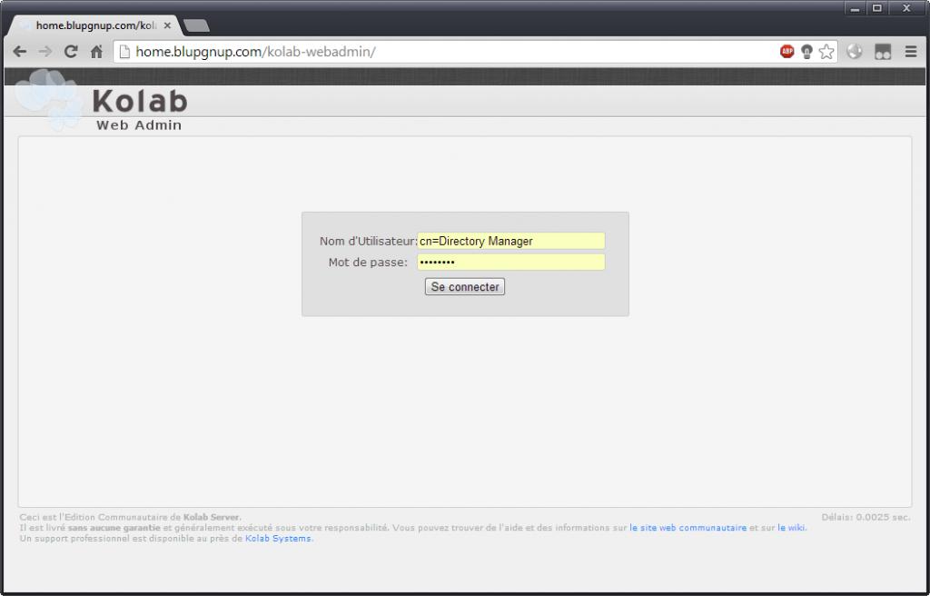 Kolab webadmin, login